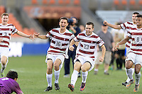 Houston, TX - Friday December 11, 2016: The Stanford Cardinal celebrate after winning the College Cup in the overtime shootout against the Wake Forest Demon Deacons at the NCAA Men's Soccer Finals at BBVA Compass Stadium in Houston Texas.