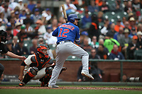 SAN FRANCISCO, CA - AUGUST 9:  Kyle Schwarber #12 of the Chicago Cubs bats against the San Francisco Giants during the game at AT&T Park on Wednesday, August 9, 2017 in San Francisco, California. (Photo by Brad Mangin)
