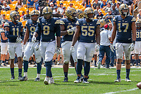 The Pitt defense takes the field. Pictured are Dane Jackson (11), Saleem Brightwell (9), Dewayne Hendrix (8), Amir Watts (34), Jaylen Twyman (55) and Rashad Weaver (17). The Pitt Panthers football team defeated the Georgia Tech Yellow Jackets 24-19 on September 15, 2018 at Heinz Field in Pittsburgh, Pennsylvania.