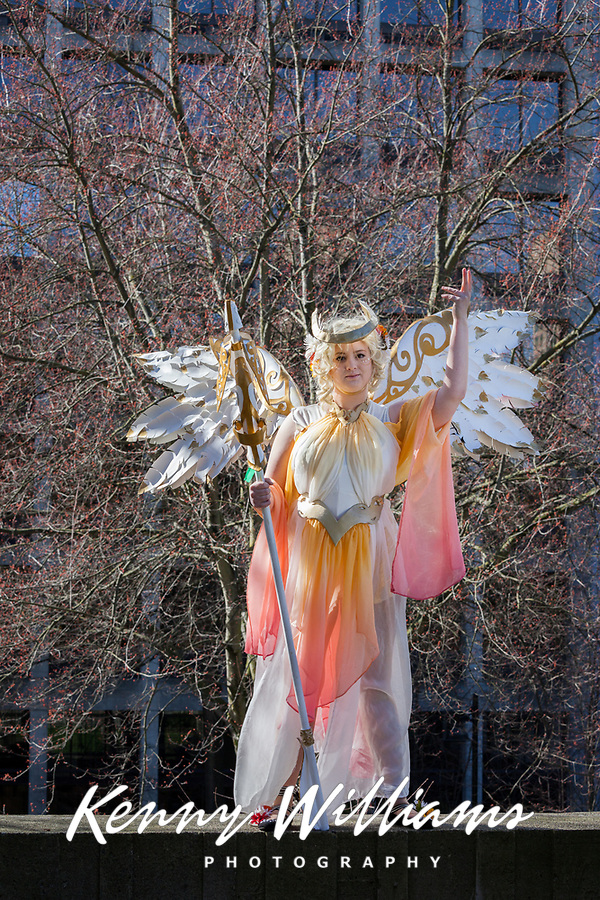 Art Nouveau Mercy from Overwatch Cosplay, Emerald City Comicon 2018, Seattle, Washington, USA.