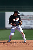 Oregon State Beavers shortstop Beau Philip (4) bobbles a ground ball during a game against the Gonzaga Bulldogs on February 16, 2019 at Surprise Stadium in Surprise, Arizona. Oregon State defeated Gonzaga 9-3. (Zachary Lucy/Four Seam Images)
