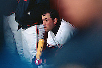 SAN FRANCISCO, CA - Will Clark of the San Francisco Giants sits in the dugout during a game at Candlestick Park in San Francisco, California in 1989. Photo by Brad Mangin