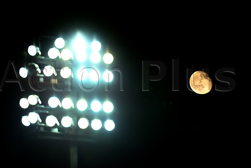 3rd November 2020; Carrow Road, Norwich, Norfolk, England, English Football League Championship Football, Norwich versus Millwall; The moon is seen behind the flood lights at Carrow Road
