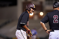 ASU Sun Devils Aliki Williams (5) stands on third base third base during an Instructional League game against the Texas Rangers at Surprise Stadium on October 6, 2018 in Surprise, Arizona. (Zachary Lucy/Four Seam Images)