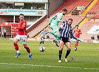 20th March 2021, Oakwell Stadium, Barnsley, Yorkshire, England; English Football League Championship Football, Barnsley FC versus Sheffield Wednesday; Jordan Rhodes of Sheffield Wednesday through on goal as Bradley Collins of Barnsley comes out of the box but fails to claim the ball