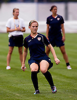 USWNT forward Amy Rodriguez watches where her shot goes during practice at Beijing Normal University for the upcoming semi-final game against Japan in the 2008 Beijing Olympics in Beijing, China.