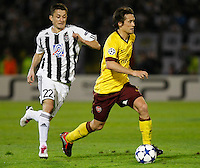 Fudbal, Champions league,Group H season 2010/2011.Partizan Vs. Arsenal.Tomas Rosicky, right and Sasa Ilic, left.Beograd, 29.09.2010..foto: Srdjan Stevanovic/Starsportphoto ©