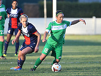 20131211 - HENIN-BEAUMONT , France :  Henin's Charlotte Blanchard pictured with PSG's Lindsey Horan (left) in her back during the female soccer match between FC Henin Beaumont and Paris Saint-Germain Feminin , of the Ninth matchday in the French First Female Division . Wednesday 11 December 2013. PHOTO DAVID CATRY