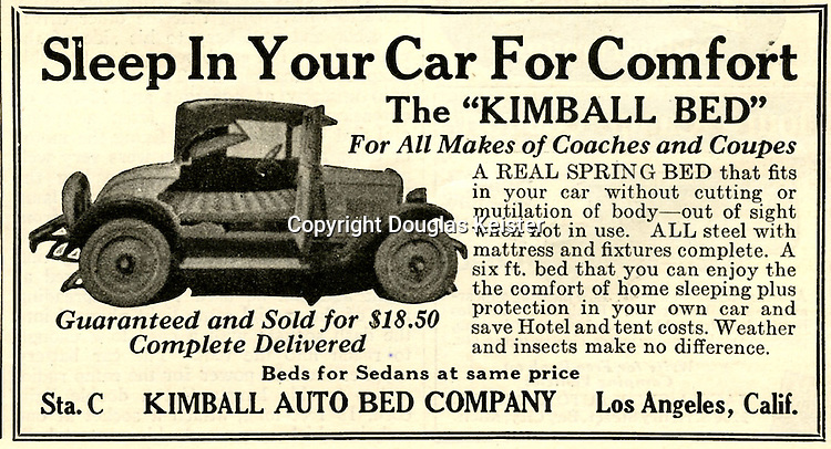 In the early days of autocamping, manufacturers of beds for automobiles capitalized on the fact that they were more affordable than buying a tent or staying in a hotel. Auto beds came in a variety of configurations from hammocks that were suspended over the seats, boards that spanned the seats, and this 6-foot spring bed that must have required some modification of the automobile's seats. The advertisement appeared in the March 1924 issue of Outdoor Life magazine.