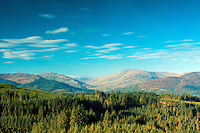 Ben Ledi and Ben Vane from Lime Craig above Aberfoyle, Loch Lomond and the Trossachs National Park, Stirlingshire