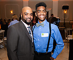 WATERBURY,  CT-051619JS27-  Cam Crosby of Waterbury and his son MIles Crosby at the Children's Community School's annual dinner and 50th anniversary celebration at La Bella Vista in Waterbury. Both father and son had attended the school. <br /> Jim Shannon Republican American