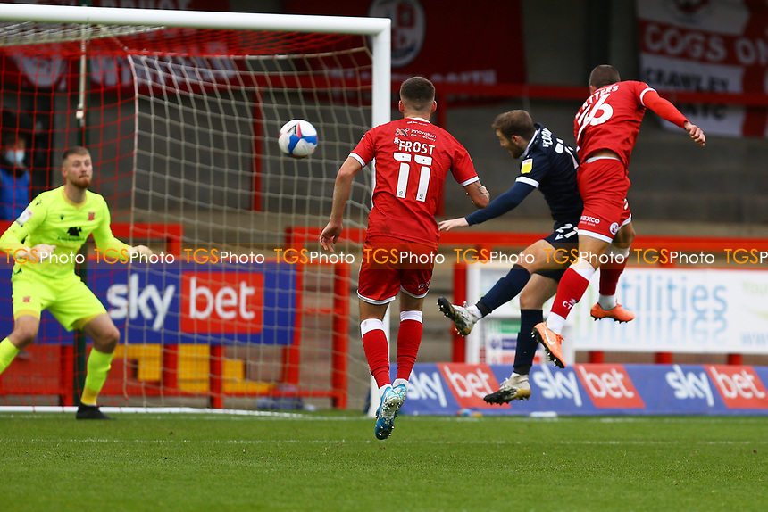 Max Watters (36) of Crawley Town scores the second goal for his team during Crawley Town vs Morecambe, Sky Bet EFL League 2 Football at Broadfield Stadium on 17th October 2020