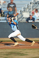 Carson Phunteck (8) (Langtree Charter HS) of the Dry Pond Blue Sox follows through on his swing against the Mooresville Spinners at Moor Park on July 2, 2020 in Mooresville, NC.  The Spinners defeated the Blue Sox 9-4. (Brian Westerholt/Four Seam Images)