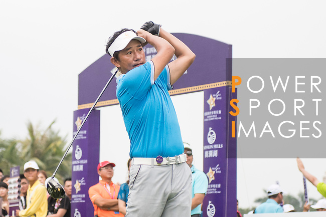 Wu Zhoutong tees off the 1st hole during the World Celebrity Pro-Am 2016 Mission Hills China Golf Tournament on 23 October 2016, in Haikou, China. Photo by Weixiang Lim / Power Sport Images