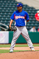 Carlos Hernandez (11) of the Midland RockHounds on the mound during a game against the Springfield Cardinals on April 19, 2011 at Hammons Field in Springfield, Missouri.  Photo By David Welker/Four Seam Images
