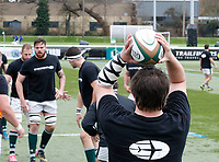 Ealing's Will Davis practices the line out during the Greene King IPA Championship match between Ealing Trailfinders and Nottingham Rugby at Castle Bar , West Ealing , England  on 18 March 2017. Photo by Carlton Myrie/PRiME Media Images.