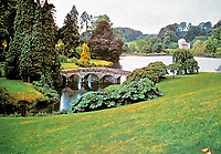 English Country Garden at Stourhead, home of Henry Hoare (1741-1772). Mere, Wiltshire, England.