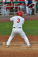 Cody Ramer (3) of the Orem Owlz at bat against the Billings Mustangs in Game 2 of the Pioneer League Championship at Home of the Owlz on September 16, 2016 in Orem, Utah. Orem defeated Billings 3-2 and are the 2016 Pioneer League Champions.(Stephen Smith/Four Seam Images)
