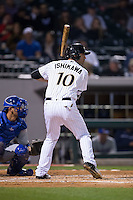 Travis Ishikawa (10) of the Charlotte Knights at bat against the Durham Bulls at BB&T BallPark on April 14, 2016 in Charlotte, North Carolina.  The Bulls defeated the Knights 2-0.  (Brian Westerholt/Four Seam Images)