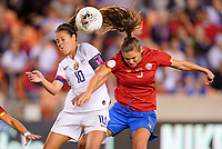 HOUSTON, TX - FEBRUARY 03: Carli Loyd #10 of the United States battles in the air for a ball with Fabiola Sanchez #5 of Costa Rica during a game between Costa Rica and USWNT at BBVA Stadium on February 03, 2020 in Houston, Texas.
