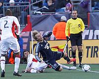 New England Revolution forward Juan Toja (7) tackles Sporting Kansas City defender Seth Sinovic (15).  In a Major League Soccer (MLS) match, Sporting Kansas City (blue) tied the New England Revolution (white), 0-0, at Gillette Stadium on March 23, 2013.