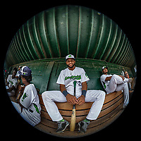 21 July 2019: Vermont Lake Monsters infielder Yerdel Vargas sits in the dugout prior to a game against the Tri-City ValleyCats at Centennial Field in Burlington, Vermont. The Lake Monsters rallied to defeat the ValleyCats 6-3 in NY Penn League play. Mandatory Credit: Ed Wolfstein Photo *** RAW (NEF) Image File Available ***