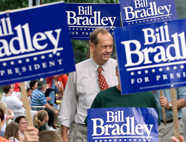 Presidential candiate Bill Bradley walks with supporters along Plainfield Ave. in South Plainfield during the annual Labor Day parade.