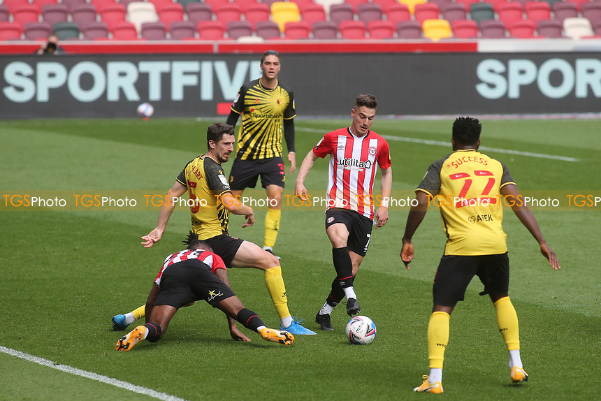 Sergi Canos of Brentford in action during Brentford vs Watford, Sky Bet EFL Championship Football at the Brentford Community Stadium on 1st May 2021