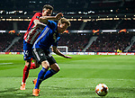 Nicolaj Thomsen (R) of FC Copenhague fights for the ball with Jose Maria Gimenez de Vargas of Atletico de Madrid during the UEFA Europa League 2017-18 Round of 32 (2nd leg) match between Atletico de Madrid and FC Copenhague at Wanda Metropolitano  on February 22 2018 in Madrid, Spain. Photo by Diego Souto / Power Sport Images