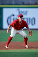 Clearwater Threshers third baseman Brian Mims (10) during a game against the Florida Fire Frogs on June 1, 2018 at Spectrum Field in Clearwater, Florida.  Florida defeated Clearwater 12-10.  (Mike Janes/Four Seam Images)