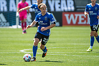 SAN JOSE, CA - APRIL 24: Tommy Thompson #22 of the San Jose Earthquakes dribbles the ball during a game between FC Dallas and San Jose Earthquakes at PayPal Park on April 24, 2021 in San Jose, California.
