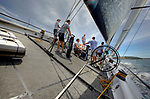 Onboard R·n for a test sail in the Sydney Harbour, before the Rolex Sydney to Hobart Yacht Race 2009..R·n is the sea goddess in the Norse mythology. R·n II is a 72 foot Judel Vrolijk designed racing yacht built by Green Marine in 2009.