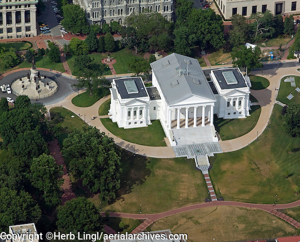 aerial photograph of the Virginia State Capitol building, Richmond, Virginia