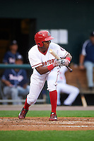 Harrisburg Senators center fielder Rafael Bautista (12) squares to bunt during a game against the New Hampshire Fisher Cats on June 2, 2016 at FNB Field in Harrisburg, Pennsylvania.  New Hampshire defeated Harrisburg 2-1.  (Mike Janes/Four Seam Images)