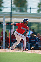 GCL Twins Jordany Valdespin (43) bats during a Gulf Coast League game against the GCL Pirates on August 6, 2019 at Pirate City in Bradenton, Florida.  GCL Twins defeated the GCL Pirates 4-2 in the first game of a doubleheader.  (Mike Janes/Four Seam Images)