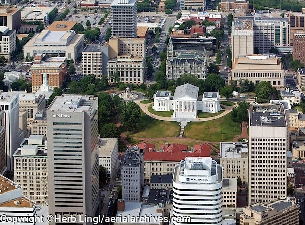 aerial photograph of the Richmond, Virginia skyline including the Virginia State Capital, and adjacent high rise buildings