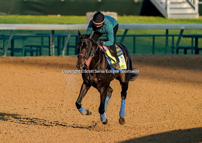 April 26, 2021: Medina Spirit, trained by trainer Bob Baffert, exercises in preparation for the Kentucky Derby at Churchill Downs on April 26, 2021 in Louisville, Kentucky. Scott Serio/Eclipse Sportswire/CSM