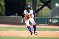 Yeyson Yrizarri (6) of the Winston-Salem Dash takes his lead off of first base against the Potomac Nationals at BB&T Ballpark on August 6, 2017 in Winston-Salem, North Carolina.  The Nationals defeated the Dash 4-3 in 10 innings.  (Brian Westerholt/Four Seam Images)