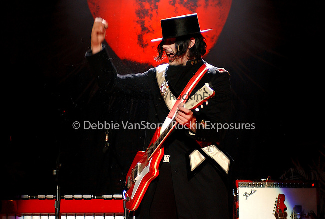 Meg White and Jack White of The White Stripes perform live at The Greek Theatre in Los Angeles,California on August 15,2005.(Pictured:Jack White ).Copyright 2005 by RockinExposures