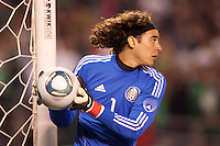 Guillermo 'Memo' Ochoa (1) goalkeeper of Mexico keeps the ball in play. The national teams of Mexico and Venezuela played to a 1-1 draw in an International friendly match at Qualcomm stadium in San Diego, California on  March 29, 2011...