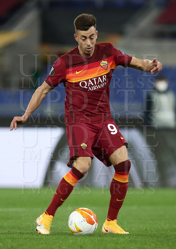 Football Soccer: Europa League -Round of 16 1nd leg AS Roma vs FC Shakhtar Donetsk, Olympic Stadium. Rome, Italy, March 11, 2021.<br /> Roma's Stephan El Shaarawy is going to score during the Europa League football soccer match between Roma and  Shakhtar Donetsk at Olympic Stadium in Rome, on March 11, 2021.<br /> UPDATE IMAGES PRESS/Isabella Bonotto