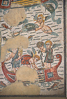 Close up detail picture of the Roman mosaics of the Room of Fishing Cupids depicting cupids fishing from boats, room no 24  at the Villa Romana del Casale, first quarter of the 4th century AD. Sicily, Italy. A UNESCO World Heritage Site.<br /> <br /> The Fishing cupids room was a dining room for guests of the Villa Romana del Casale. The mosaic floor represents a sea scene with four boats from which cupids are busy fishing. The mosaic depicts sea around the boats abounds with marine life. The mosaic show several Roman fishing techniques using nets, fishing lines, harpoon and fish traps.