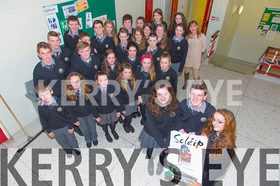 Aisling Ni Fhuarain, Darragh MacAogain, Tara Ni Dhuinnin and over 30 students with teacher Michelle D'altuin  from Gaelcholaiste Chiarrai have earned a place in the All-Ireland Scleip on January 24th in Dublin.