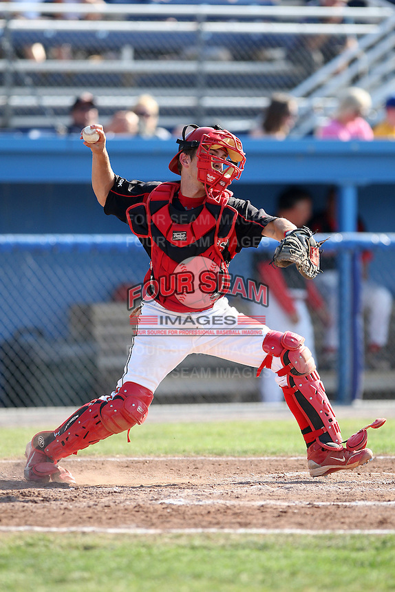 Batavia Muckdogs catcher Casey Rasmus #5 during a game against the Auburn Doubledays at Dwyer Stadium on July 17, 2011 in Batavia, New York.  Batavia defeated Auburn 8-3.  (Mike Janes/Four Seam Images)
