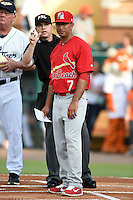 Palm Beach Cardinals manager Oliver Marmol (7) listens to umpire Ryan Doherty explain ground rules before a game against the Lakeland Flying Tigers on April 13, 2015 at Joker Marchant Stadium in Lakeland, Florida.  Palm Beach defeated Lakeland 4-0.  (Mike Janes/Four Seam Images)