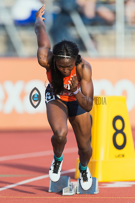 Florence Uwakwe of UTEP competes in 400 meter prelims during West Preliminary Track and Field Championships, Friday, May 29, 2015 in Austin, Tex. (Mo Khursheed/TFV Media via AP Images)