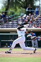 Jose Briceno (4) of the Inland Empire 66ers bats against the Rancho Cucamonga Quakes at San Manuel Stadium on April 27, 2016 in San Bernardino, California. Rancho Cucamonga defeated Inland Empire, 2-1. (Larry Goren/Four Seam Images)