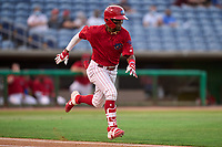 Clearwater Threshers Luis García (5) runs to first base during a game against the Dunedin Blue Jays on May 19, 2021 at BayCare Ballpark in Clearwater, Florida. (Mike Janes/Four Seam Images)