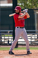 Los Angeles Angels infielder Dustin Ackley (3) at bat during an Extended Spring Training game against the Chicago Cubs at Sloan Park on April 14, 2018 in Mesa, Arizona. (Zachary Lucy/Four Seam Images)
