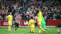 Frustration for Liverpool players as they concede a late third goal to Brentford during Brentford vs Liverpool, Premier League Football at the Brentford Community Stadium on 25th September 2021